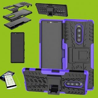 Für Sony Xperia 1 6.5 Zoll Hybrid Case Lila Hülle + 0, 3 mm H9 Glas Tasche Etuis
