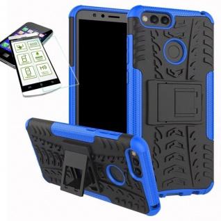 Hybrid Case Tasche Outdoor 2teilig Blau für Huawei Honor 7X Hülle Hartglas Neu
