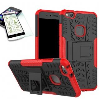 Hybrid Case Tasche Outdoor 2teilig Rot für Huawei P10 Lite Hülle + Hartglas