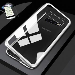 Für Samsung Galaxy S10e G970F Magnet Tasche Silber / Transparent + H9 Glas Etuis
