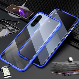 Für Xiaomi Redmi Note 8 Pro Magnet Tasche Hülle Blau / Transparent + H9 Glas Neu