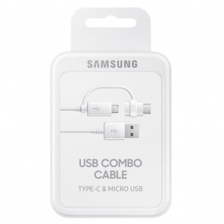 Samsung Combo Kabel EP-DG930 Datenkabel Micro-USB USB A USB Typ C Adapter Weiss