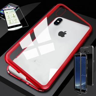 Für Apple iPhone XR 6.1 Magnet Glas Tasche Rot / Transparent + 0, 26 H9 Glas Case
