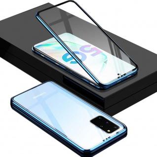 Beidseitige Magnet Glas Bumper Handy Blau für Samsung Galaxy Galaxy S20 Plus Neu