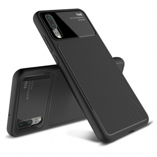 Design Cover Schwarz für Huawei P20 TPU Silikon Schutz Tasche Hülle Case Etui - Vorschau 1