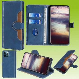 Für Apple iPhone 13 Pro Max Design Handy Tasche Blau Etuis Schutz Kunst-Leder
