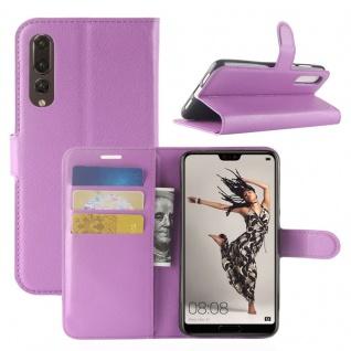 Tasche Wallet Premium Lila für Huawei P20 Pro Hülle Case Cover Schutz Schale Neu