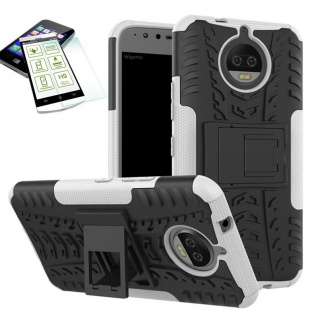 Hybrid Case Tasche Outdoor 2teilig Weiß für Motorola Moto G5S Plus Hülle + Glas