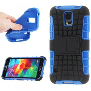 Hybrid Case 2teilig Robot Blau Cover Hülle Zubehör Etui für Samsung Galaxy S5