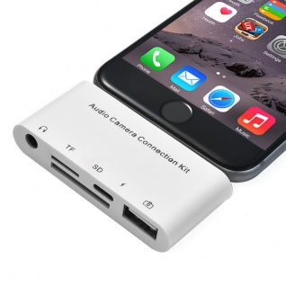 5in1 8 Pin Camera Connector USB Adapter für Apple iPad und iPhone IOS 9.1 bis 11