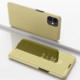 Für Apple iPhone 12 Mini View Smart Cover Hülle Gold Handy Tasche Wake UP Etuis