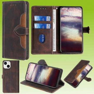 Für Apple iPhone 13 Mini Design Handy Tasche Braun Etuis Schutz Kunst-Leder Case