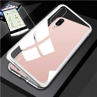 Für Xiaomi Mi 9 360 Grad Magnet Tasche Etuis Silber / Transparent + H9 Glas Neu