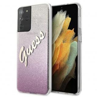 Guess Gradient Script Samsung Galaxy S21 Ultra G998B Pink Glitter Case Hülle