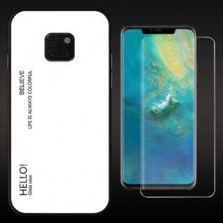 Für Huawei Mate 20 Pro Color Effekt Cover Weiß Tasche Hülle + 4D Curved Glas Neu