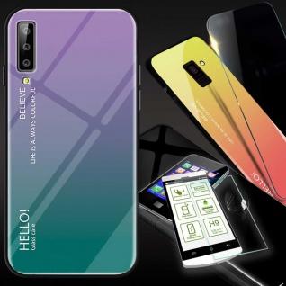 Für Samsung Galaxy A7 A750F 2018 Color Effekt Lila Tasche Hülle H9 Hart Glas Neu