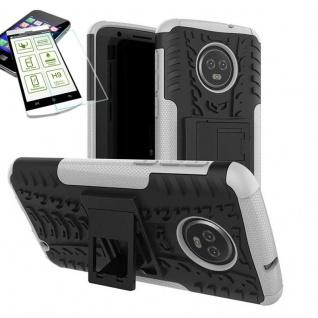 Für Motorola Moto G6 Plus Hybrid Tasche Outdoor 2teilig Weiß Hülle + H9 Glas Neu