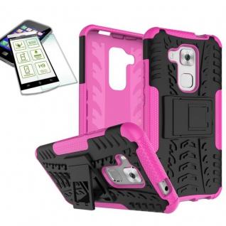 Hybrid Case Tasche Outdoor 2teilig Pink für Huawei Nova Plus + Hartglas Cover