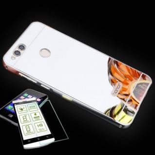 Alu Bumper 2 teilig Silber + 0, 3 H9 Panzerglas für Huawei Honor 7X Tasche Hülle