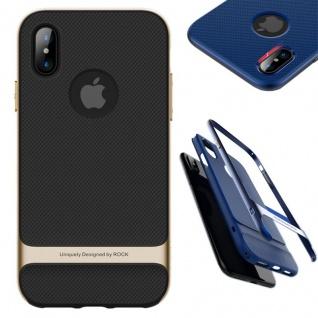 Original ROCK Silikon Case Tasche Schwarz / Gold für Apple iPhone X / 10 Hülle