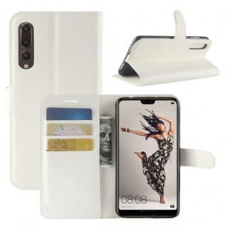 Tasche Wallet Premium Weiß für Huawei P20 Pro Hülle Case Cover Schutz Schale Neu