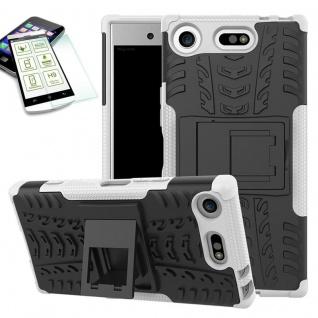 Hybrid Case 2 teilig Weiß für Sony Xperia XZ1 Compact + 0, 3 H9 Hartglas Tasche