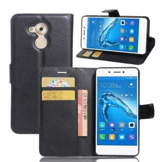 Tasche Wallet Premium Schwarz für Huawei Honor 6C Hülle Case Cover Etui Schutz