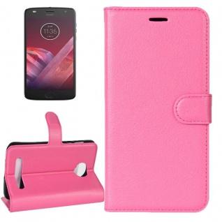Tasche Wallet Premium Pink für Motorola Moto Z2 Play Hülle Case Cover Etui Neu