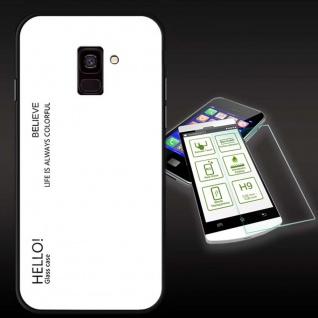 Für Samsung Galaxy J4 Plus J415F Color Effekt Weiß Tasche Hülle H9 Hart Glas Neu