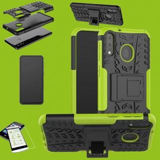 Für Samsung Galaxy A20e Hybrid Tasche Outdoor 2teilig Grün + H9 Glas Etuis