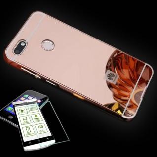 Alu Bumper 2 teilig Pink + 0, 3 H9 Panzerglas für Huawei Y6 Pro 2017 Tasche Hülle