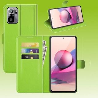 Für Xiaomi Redmi Note 10 / 10s Handy Tasche Grün Etuis Kunst-Leder Cover Hülle