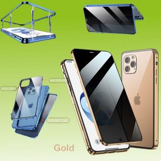 Beidseitiger Magnet Glas Bumper Privacy Gold für Apple iPhone 12 Mini Tasche Neu