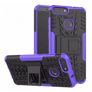 Für Huawei P Smart Hybrid Case 2teilig Outdoor Lila Etui Tasche Hülle Cover Neu