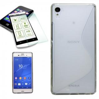 Silikoncase Transparent Tasche + 0, 3 H9 Panzerglas für Sony Xperia Z3 Plus Dual