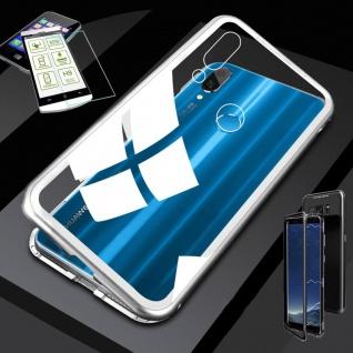 Für Huawei P20 Lite Magnet Glas Tasche Case Silber / Transparent + 0, 26 H9 Glas