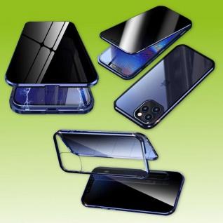 Beidseitiger Magnet Glas Bumper Privacy Blau für Apple iPhone 12 Mini Tasche Neu