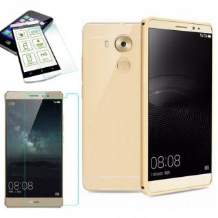 Alu Bumper 2 teilig Gold + 0, 3 mm H9 Panzerglas für Huawei Mate 8 Tasche Case
