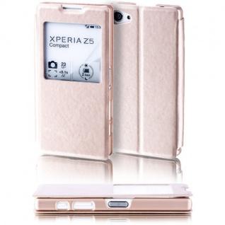 Booktasche Window Gold für Sony Xperia Z5 Compact 4.6 Tasche Cover Hülle Case