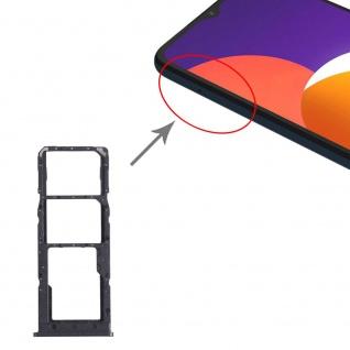 Dual Sim Karten + Micro SD Halter Card Tray für Samsung Galaxy M12 Schwarz