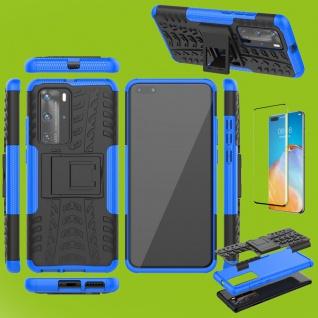 Für Huawei P40 Pro Hybrid Handy Tasche Hülle 2teilig Blau + 4D Curved H9 Glas