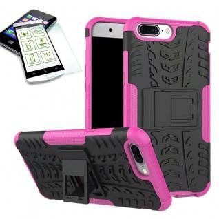Hybrid Case Tasche Outdoor 2teilig Pink für ONEPlus 5 Hülle + Hartglas Etui