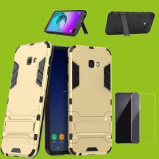 Für Samsung Galaxy J4 Plus J415F Tasche Metal Style Hülle Gold + 0, 26 H9 Glas