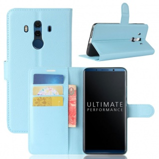Tasche Wallet Premium Blau für Huawei Mate 10 Pro Hülle Case Cover Etui Schutz