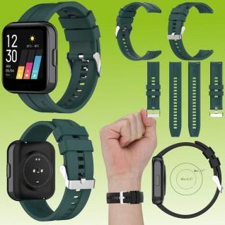 Für Huawei Watch GT 22mm Latano Fitness Watch Uhr Kunststoff Silikon Armband Dunkel Grün