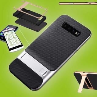 Für Samsung Galaxy S10e G970F Standing Tasche Outdoor Etuis Silber + H9 Glas Neu