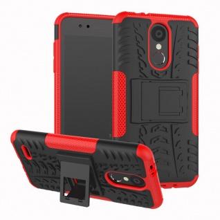 Für LG K9 2018 Hybrid Case 2teilig Outdoor Rot Etui Tasche Hülle Cover Schutz