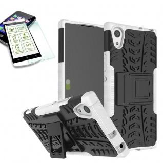 Hybrid Case 2 teilig Weiß für Sony Xperia XA1 Hülle + 0, 3 H9 Hartglas Tasche