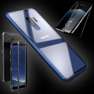 Für Samsung Galaxy S9 Magnet Tasche Blau Transparent + 0, 3 4D H9 Glas Hülle Case