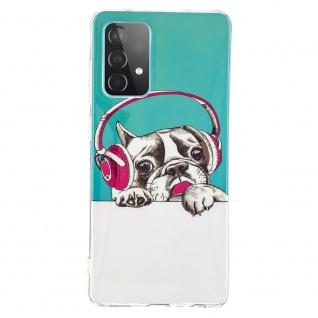 Für Samsung Galaxy A52 Silikon Case TPU Motiv Headset Dog Schutz Hülle Cover